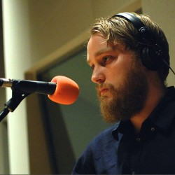 Adam Holmes in BBC studio for The Folk Show with Mark Radcliffe session
