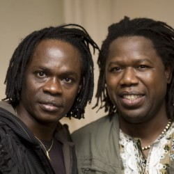 Baaba Maal, Samba Sene, backstage at Celtic Connections; photo by marc marnie